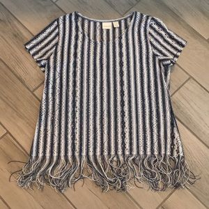 Chico's 1 Navy striped mesh top